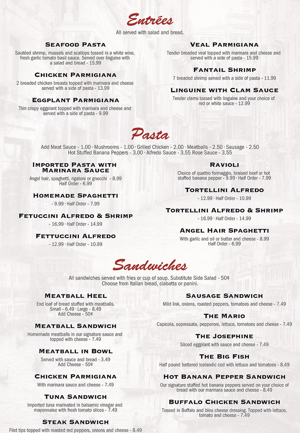 Marios Restaurant Menu 2017